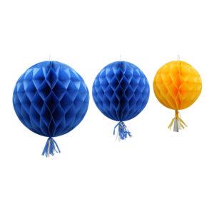 Honeycomb tassel blå/gul