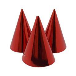 Partyhattar röd metallic