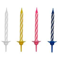 Tårtljus flerfärgad med hållare