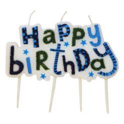 Tårtljus happy birthday blå