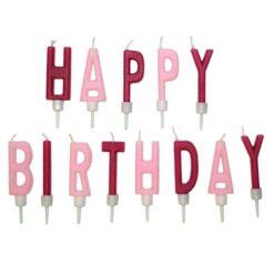 Tårtljus med text happy birthday ljurosa och mörkrosa