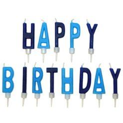 Tårtljus med text happy birthday ljusblå och mörkblå