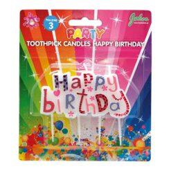 Tårtljus happy birthday rosa pack