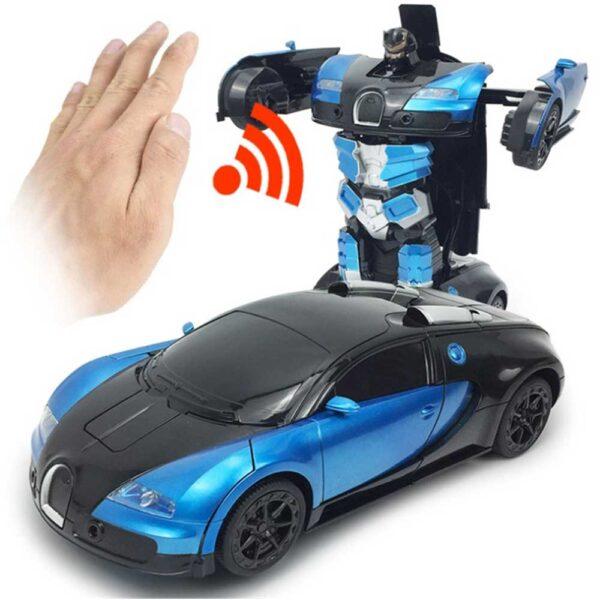 Radiostyrd biltransformationsrobot- styrs med handgester och fjärrkontroll