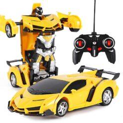 Radiostyrd biltransformationsrobot med fjärrkontroll gul