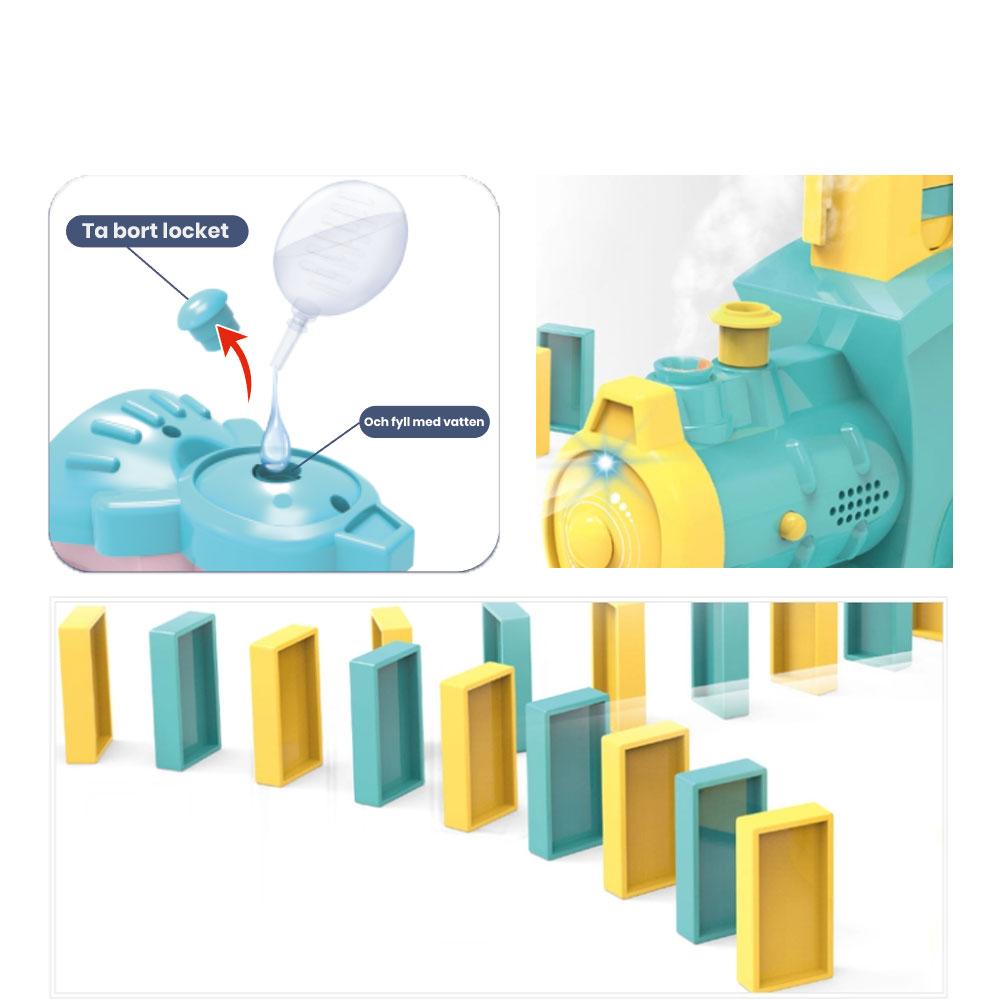 Elektrisk dominotåg med ånga instruktioner