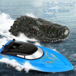 Radiostyrd vattenleksak motorbåt och krokodilhuvud