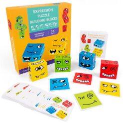 Pedagogiskt pusselspel med olika känslouttryck