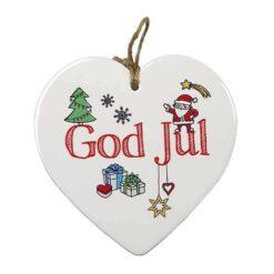 Hjärtformad tavla God Jul