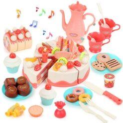 Leksakskonditori set bakelser och födelsedagstårta